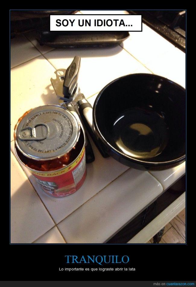 abertura,abre latas,cocinar,forzar,lata,sartén