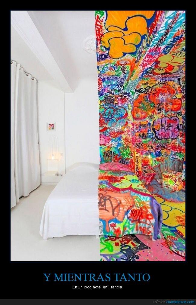 dibujo,Francia,graffiti,habitación,hotel,original,vanguardia