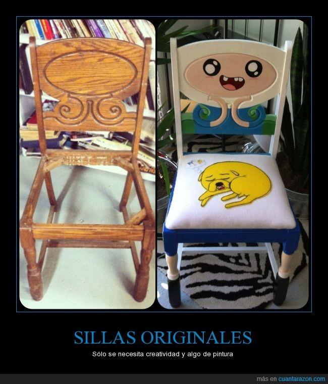 creatividad,finn,hora de aventura,jake,pintura,silla