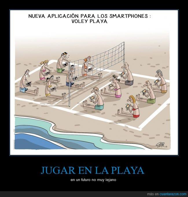 adicción,jugar,playa,prisión virtual,smartphones,volleyball