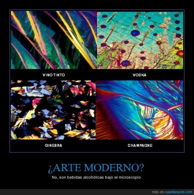 arte moderno,champagne,colores,ginebra,microscopio,vinotinto,vodka