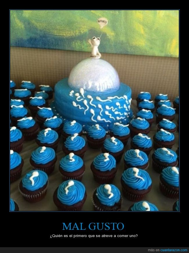 arte,cupcakes,espermatozoide,pastel