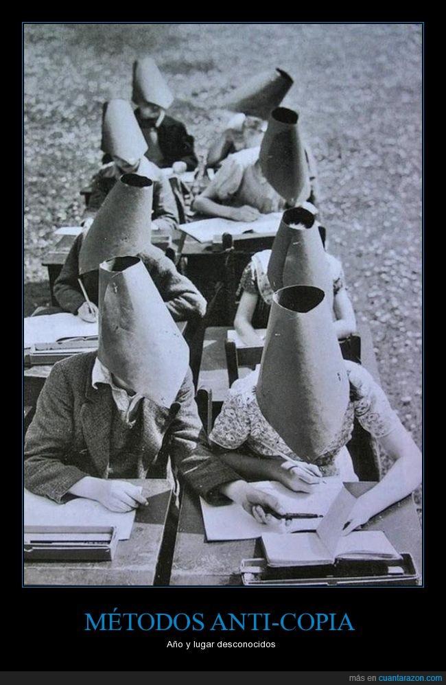conos,copiar,examenes,sombreros