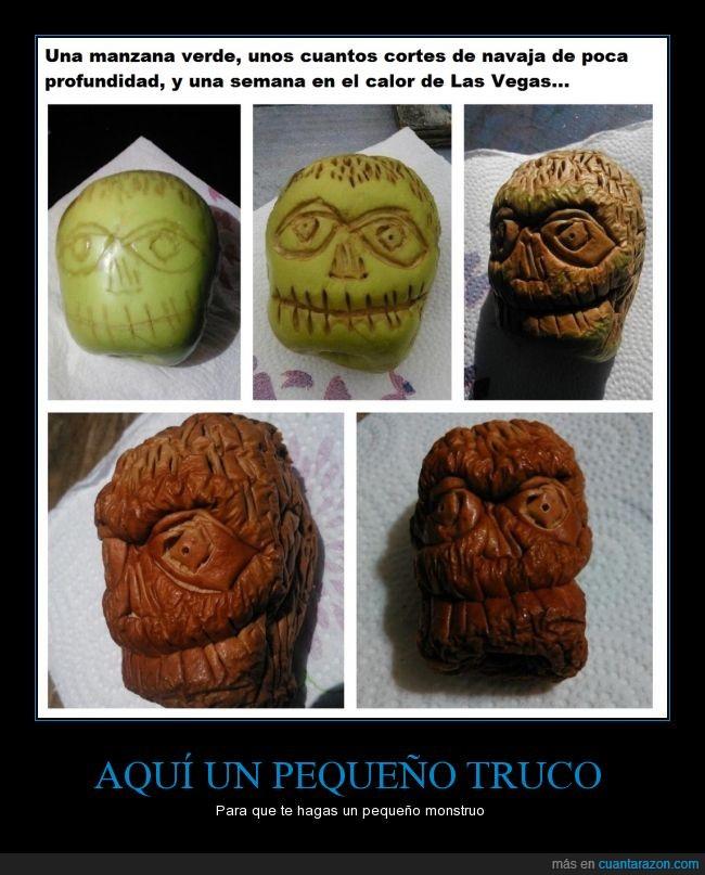 cara,fruta,manzana,monstruo,podrida,pudrir,quemado,secar,sol,verde