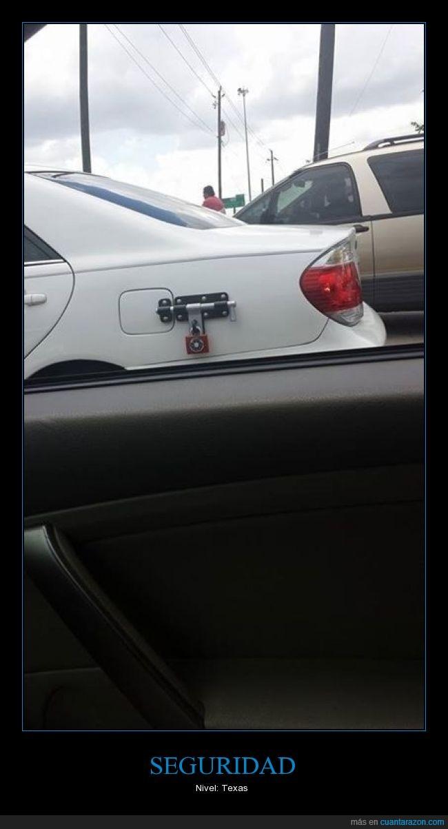 candado,cerrojo,coche,depósito,gasolina,Texas
