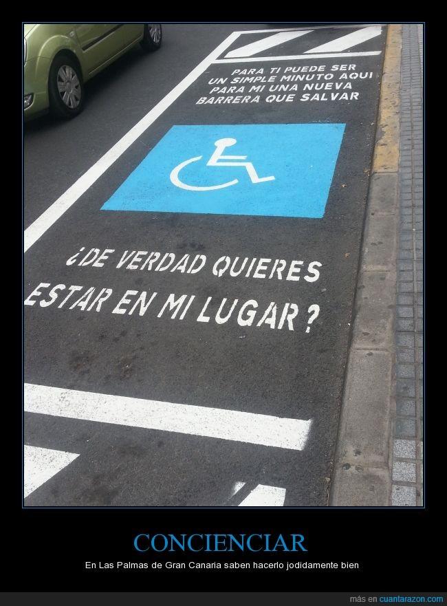 aparcamiento,concienciar,minusvalidos