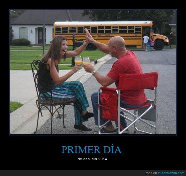 autobús,brindis,descanso,felicidad,hijos,padres
