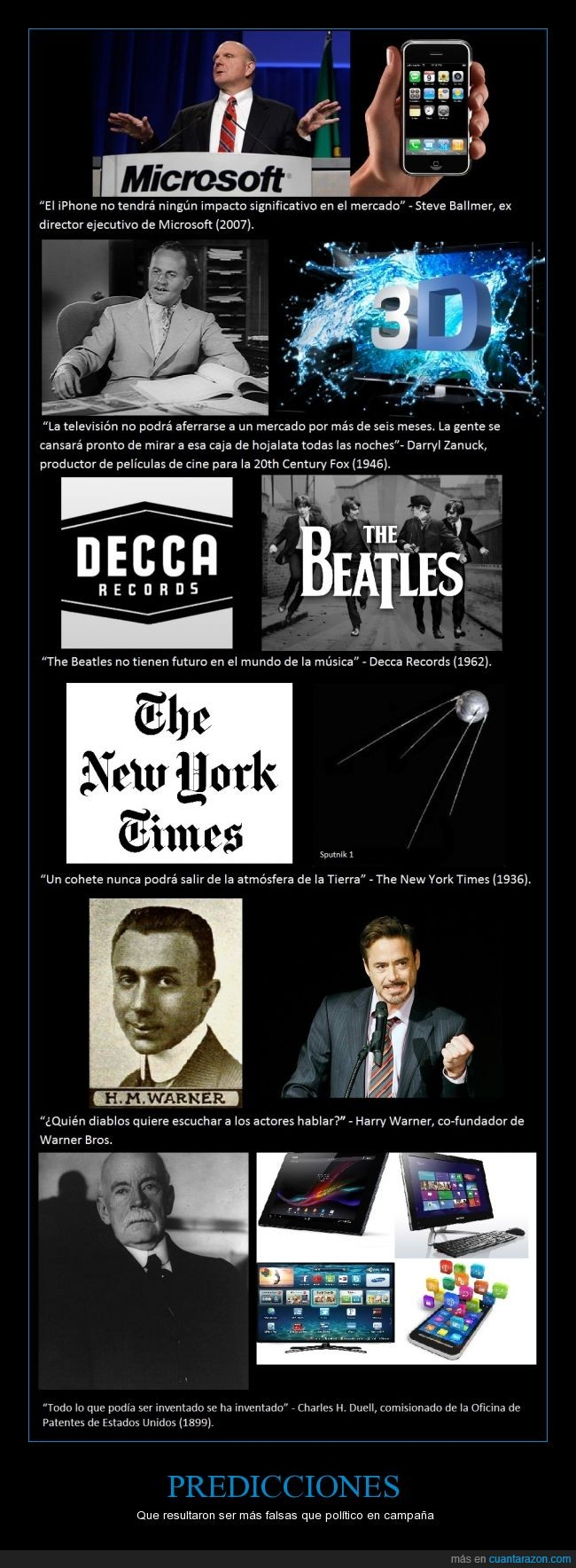 Beatles,Charles H. Duell,cohete,Darryl Zanuck,Decca Records,erroneas,falsas,Harry Warner,iPhone,Microsoft,predicciones,robert downey jr,sputnik 1,Steve Ballmer,television,The New York Times