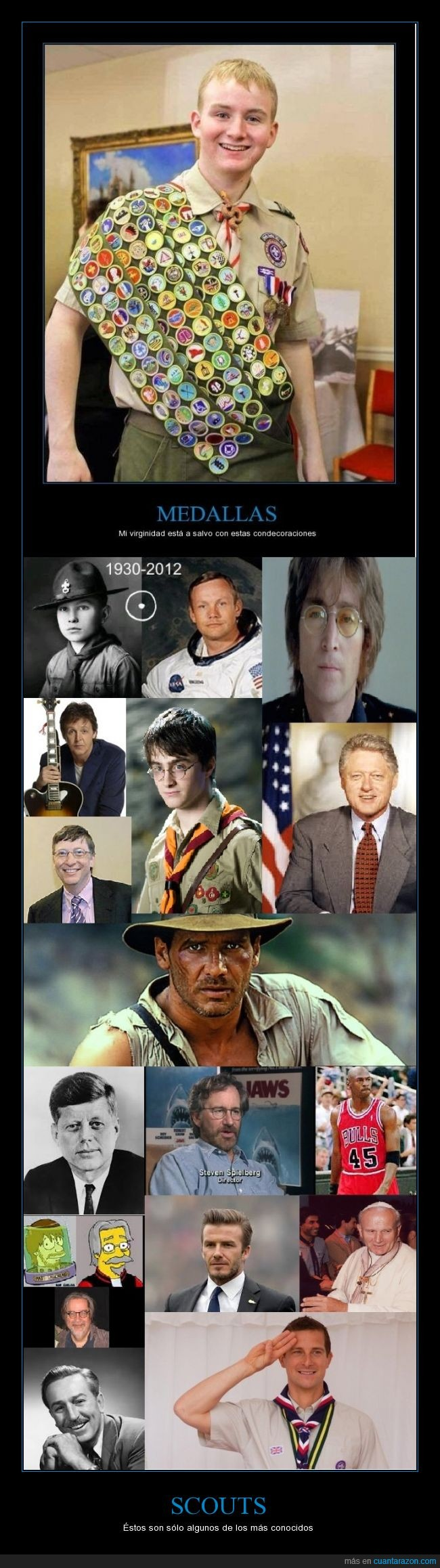 bear grylls,daniel radcliffe,david beckham,famoso,harrison ford,paul mccartney,scouts,walt disney