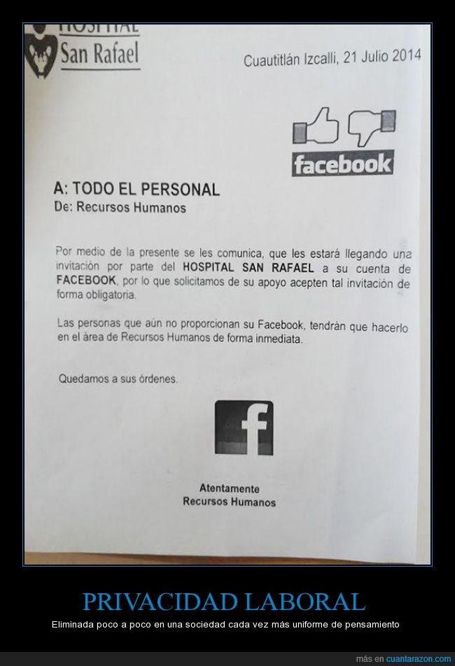 aceptacion,controlar,facebook,obligatoria,Orwell,Quizá las telepantallas estén cerca,recursos humanos,trabajo