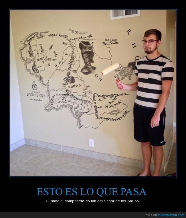 compañero,ESDLA,fan,mapa,mural,pintar,pintura,tierra media