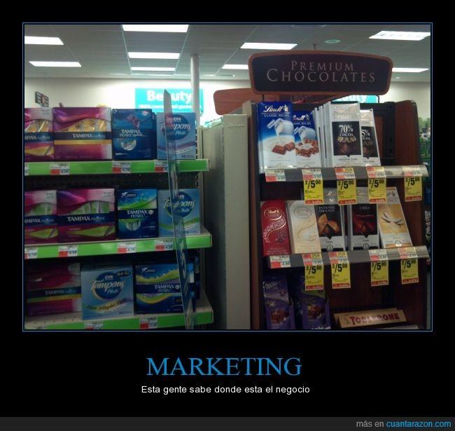 chocolate,compresas,marketing,menstruación,negocios,publicidad,regla,tampax,tampones,ventas
