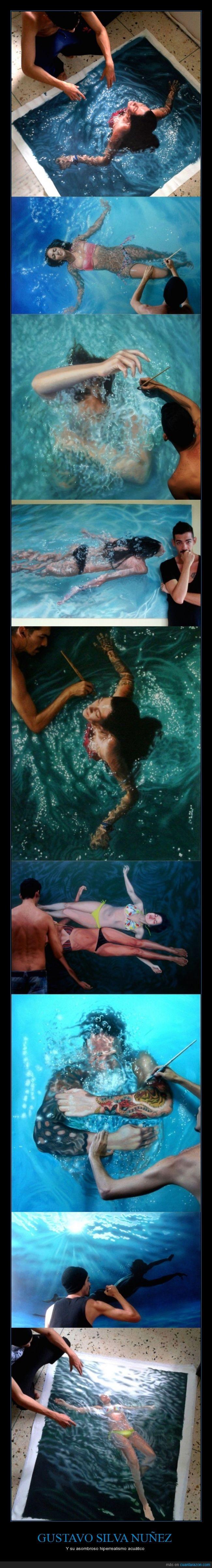 agua,chica,Gustavo Silva Nuñez,hiperrealismo,hiperrealista,mar,piscina