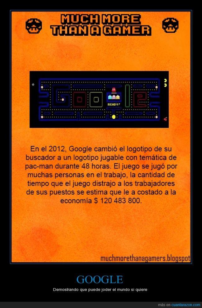 Dinero,economia,Google,horas,Much more than a gamer,Pac-Man,pacman,perder dinero,trabajar,trabajo