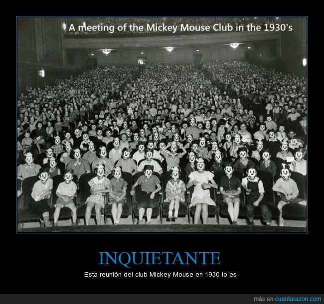 1930,careta,inquietante,máscaras,Mickey Mouse,miedo,raton,reunión