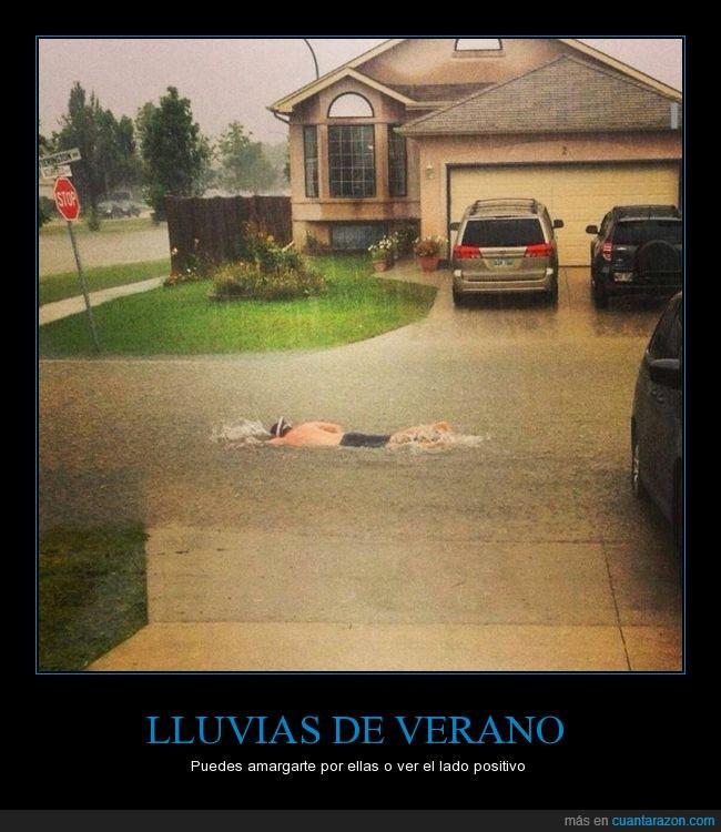 bucear,inundacion,lluvia,nadar,verano