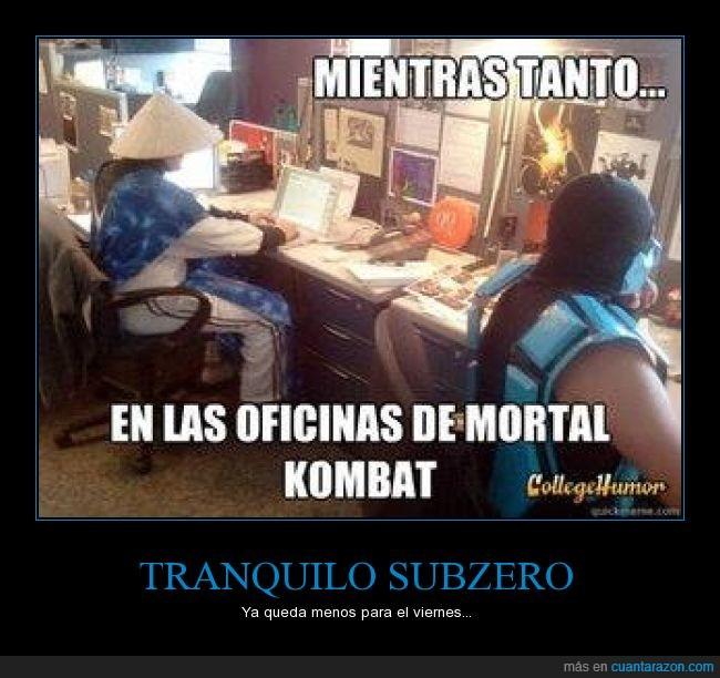 Mortal Kombat,Oficina,raiden,Sub Zero,trabajar