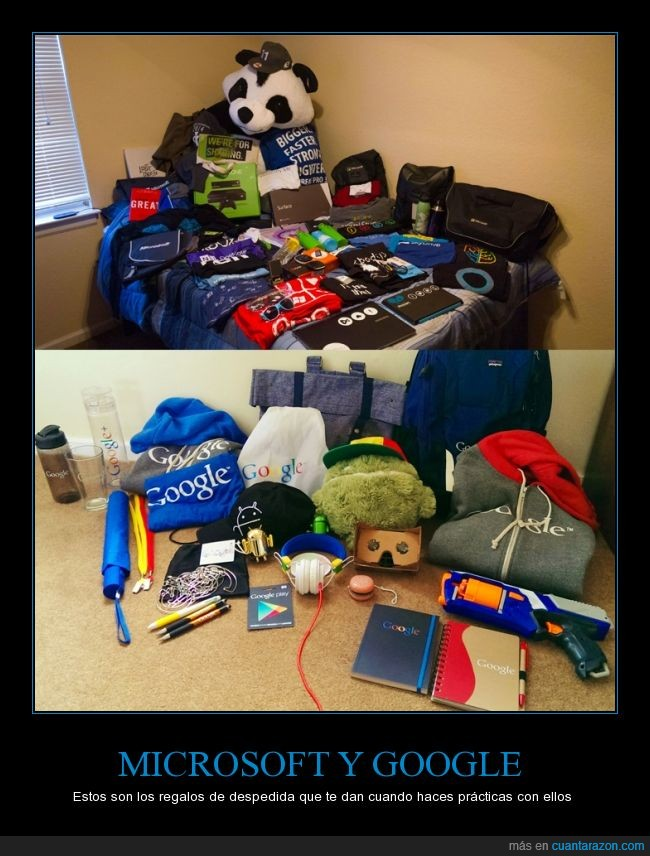 botella,camisetas,despedida,internship,libretas,mochila,pistola nerf,practicas,regalos,xbox one