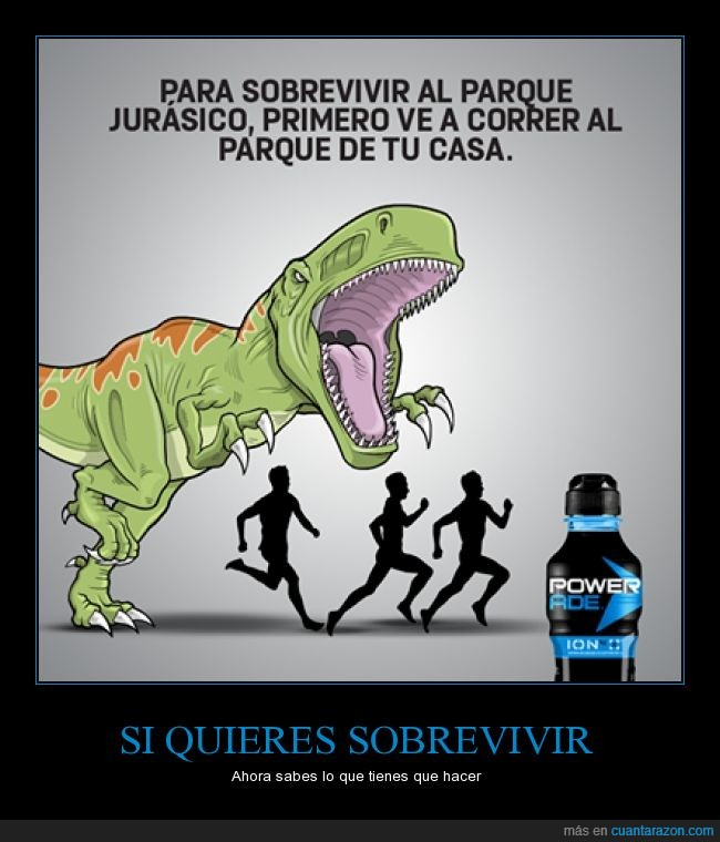 beber,bebida,correr,dinosaurio,ejercicio,gatorade,original,parque,publicidad