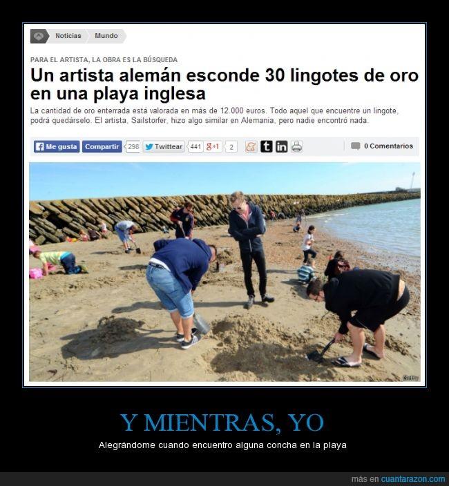 30,actualidad,alemán,Artista,conchas,esconder,Esto con Rajoy no pasa,lingotes,oro,playa