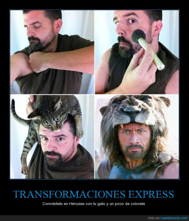 cabeza,convertir,dwayne johnson,gato,hercules,leon,maquillaje,the rock,transformacion