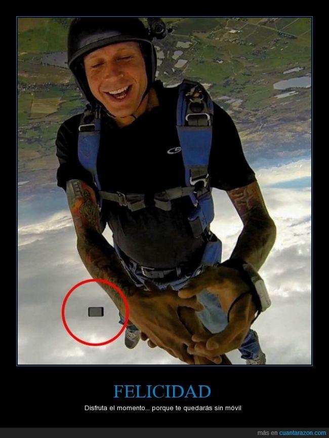 caida,felicidad,movil,paracaidista,romper