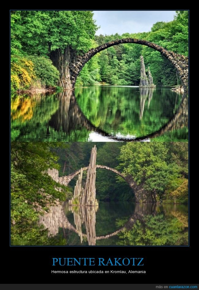 alemania,arco,aro,circular,kromlau,puente,rakotz,reflejo