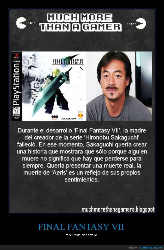 aeris,aerith,ffvii,Final Fantasy,Much more than a gamer,muerte,Triste