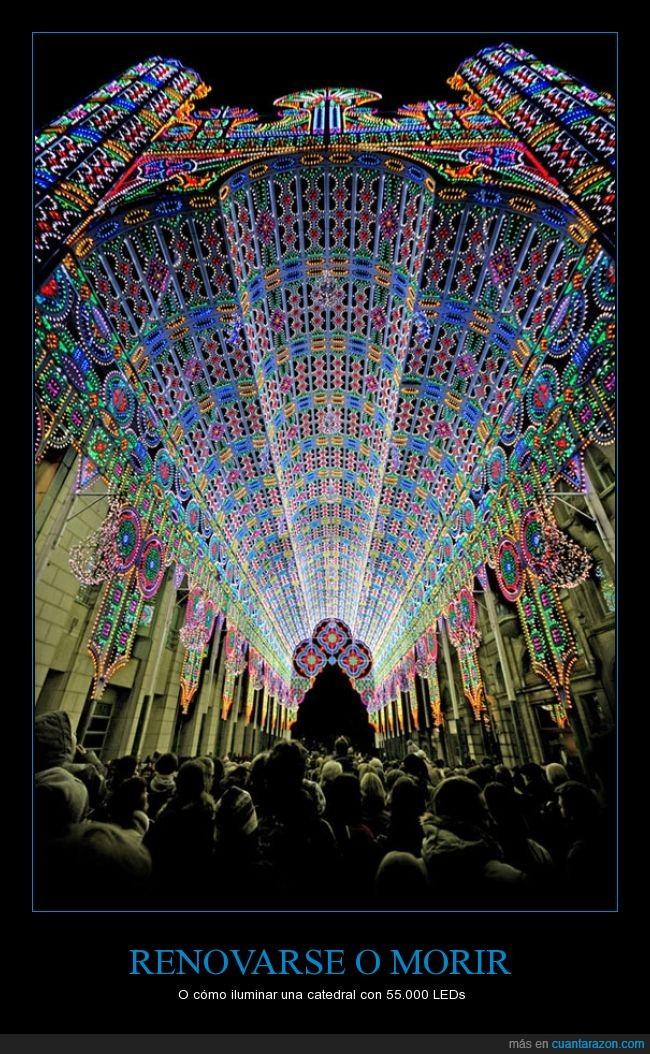 adornos,catedral,colorido,iglesia,leds,luz,parroquia