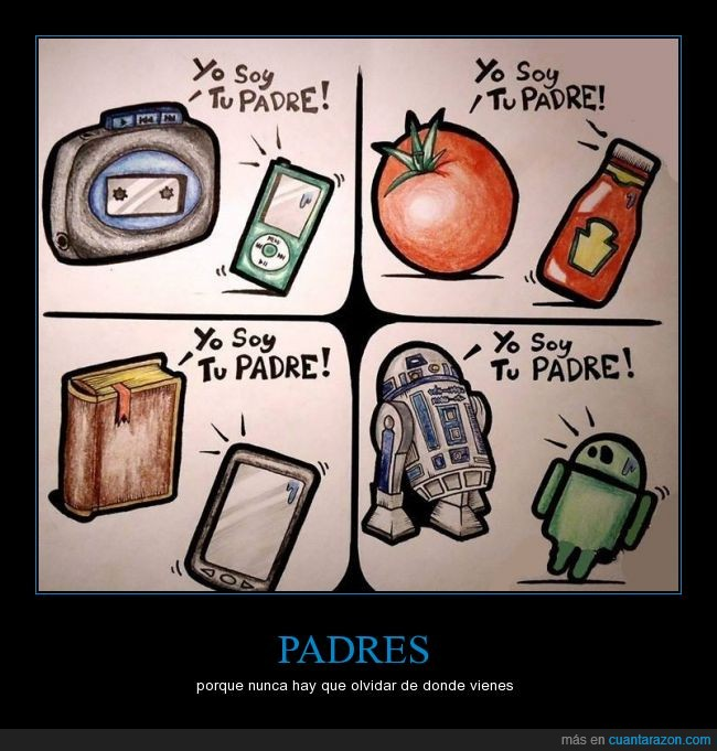 Android,libros,Mp3,nacimiento,origen,R2D2,radio,tablet,tomate