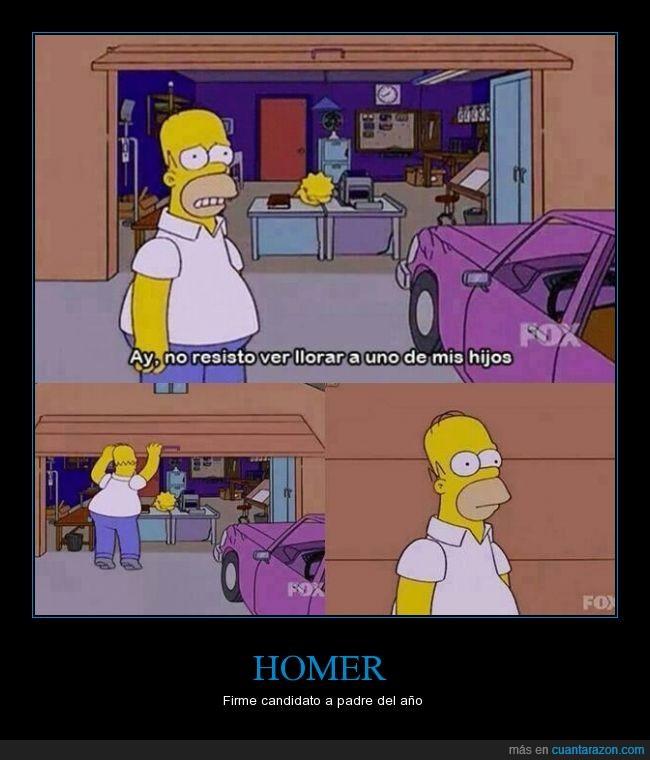 hijos,Homer,lisa,llorar,Simpsons