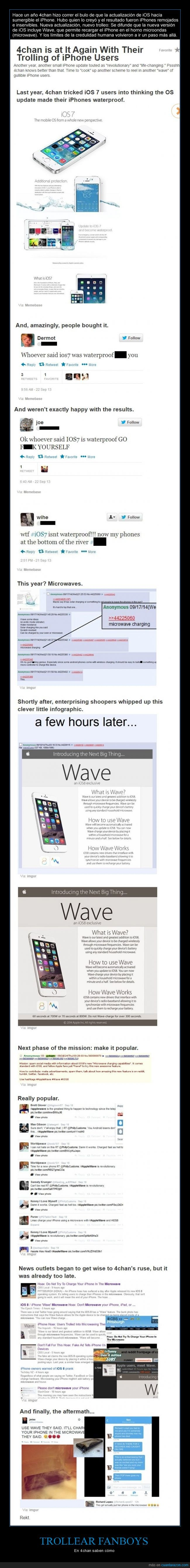 4chan,android ya lo tenia hace dos años,impermeable,iphone,metersela doblada,microondas,trollear