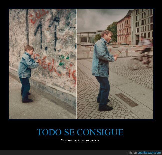 adulto,años después...,hombre,niño,pared,picar,pico