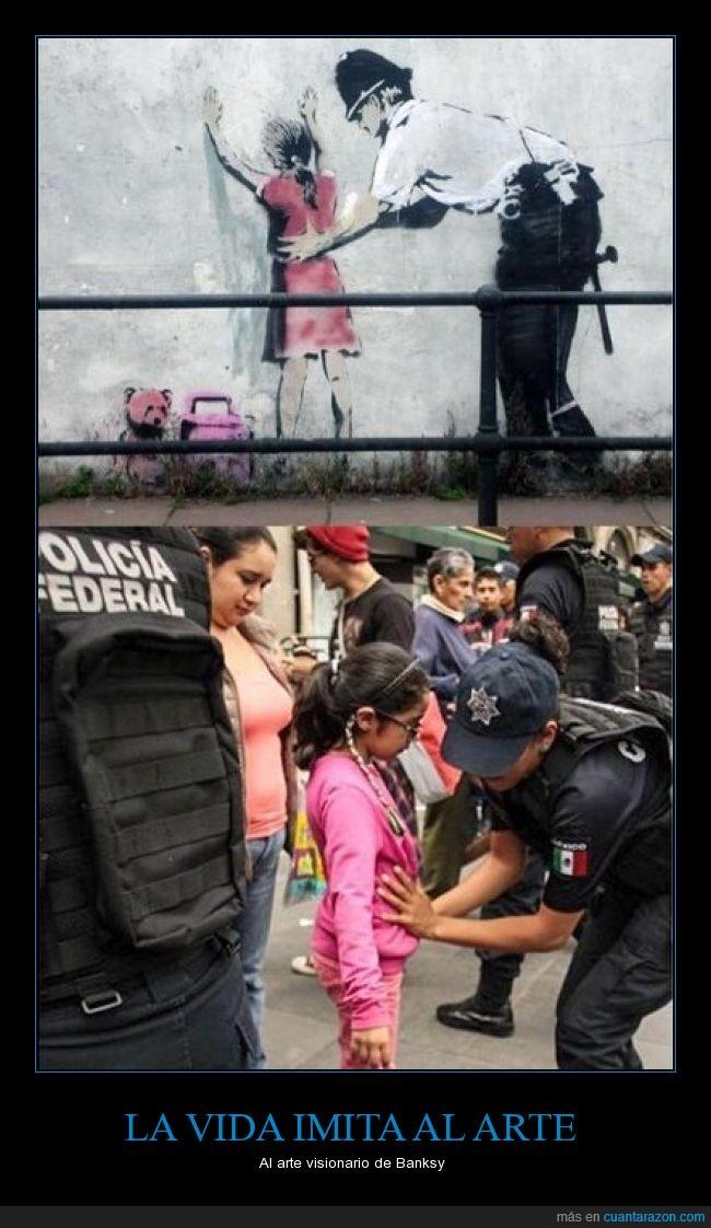 banksy,control policial,graffiti,no hay enemigo pequeño