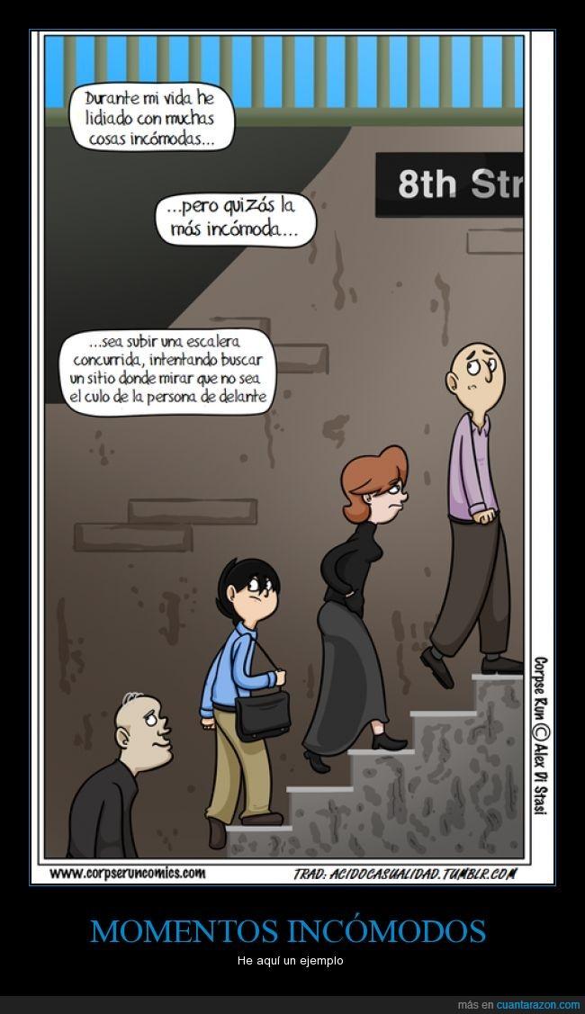 delante,escaleras,incómodos,mirar,momentos,observar,vida
