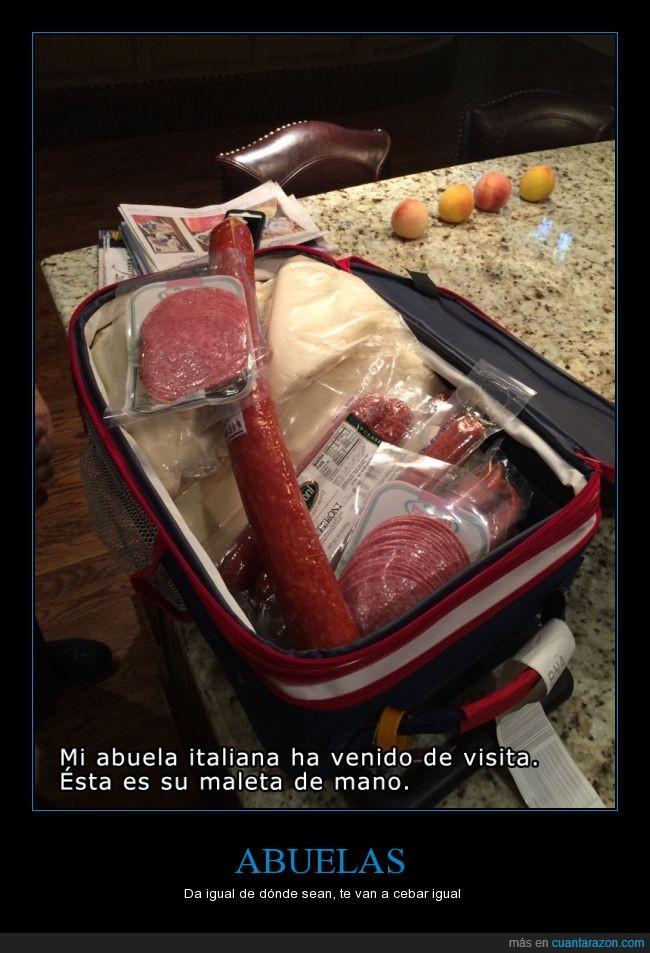 abuela,chorizo,comida,embutidos,envasado,peperoni,queso,salami,será contrabandista de embutido?,traer