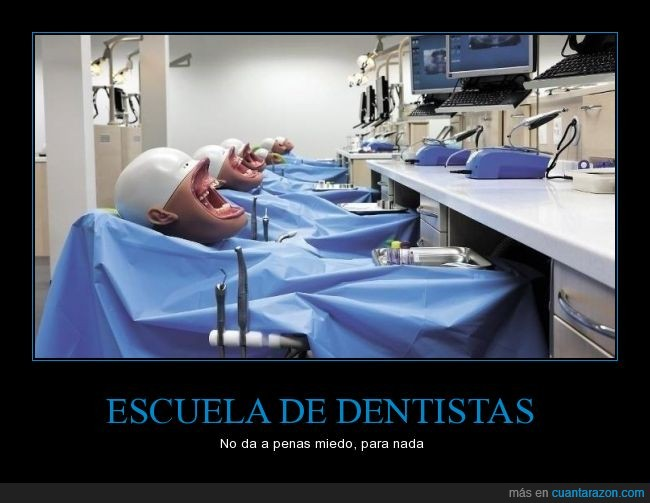 academia,cabeza,clase,dentadura,dentista,dientes,escuela,falsa,miedo,nariz,paciente,practicar,practicas