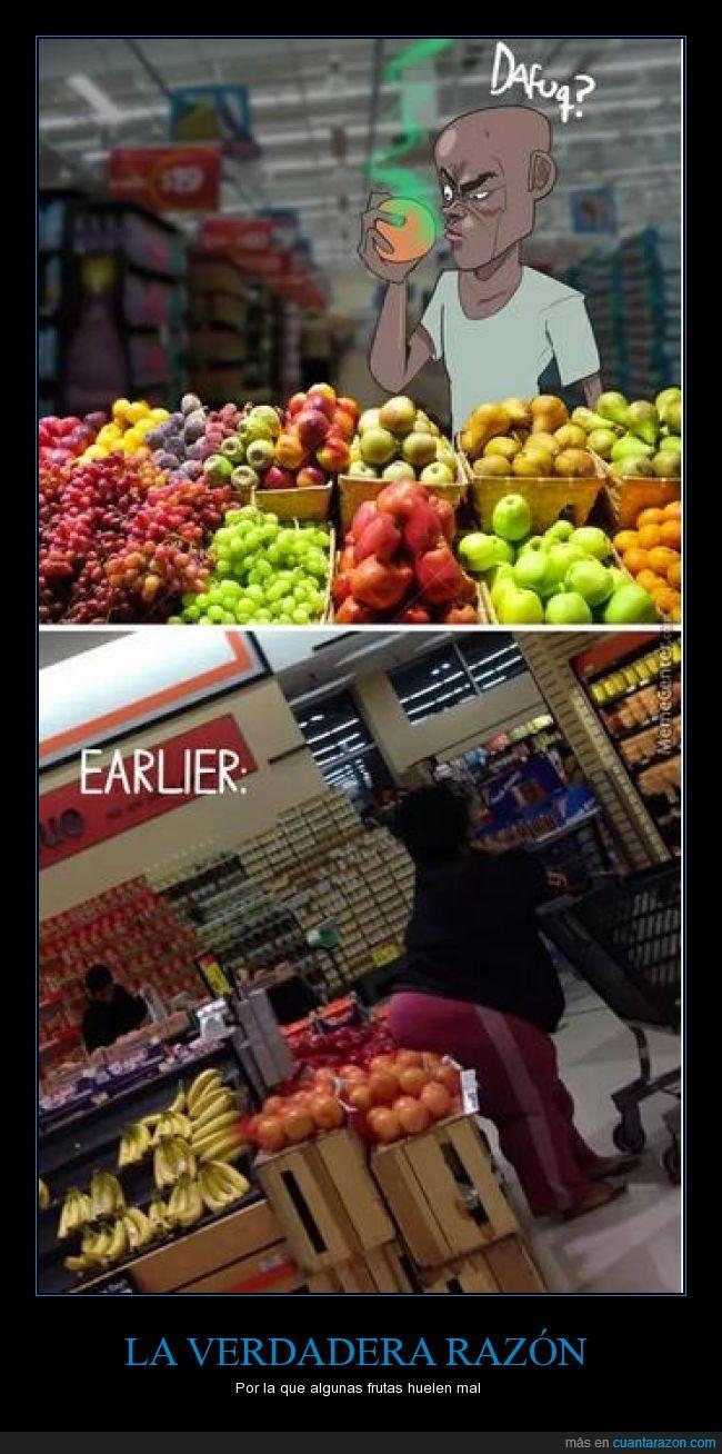 color,comprobar,fruta,mujer,negra,oler,peste,poner,sentar