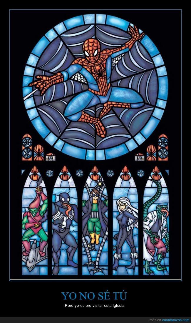comic,enemigos,obra,rezar por spiderman,spiderman,vitral