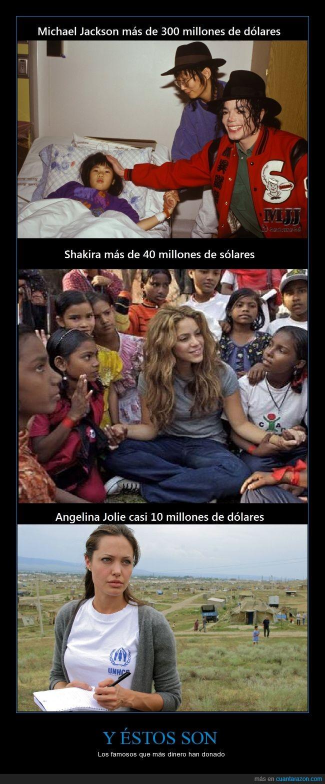 angelina jolie,dólares,donación,famosos,michael jackson,shakira