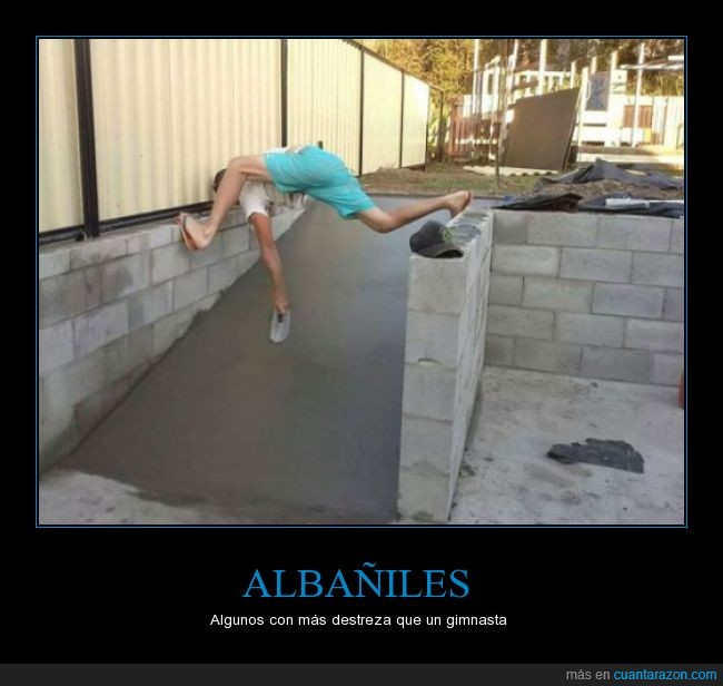 albañil,aplanado,arreglar,contorsionista,destreza,espatula,flexibilidad,hormigón,pisar,rampa