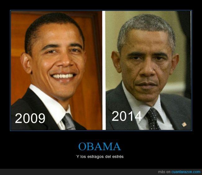 cinco años,edad,envejecer,envejecimiento,estres,mandatario,Obama,presidente,rapido,USA