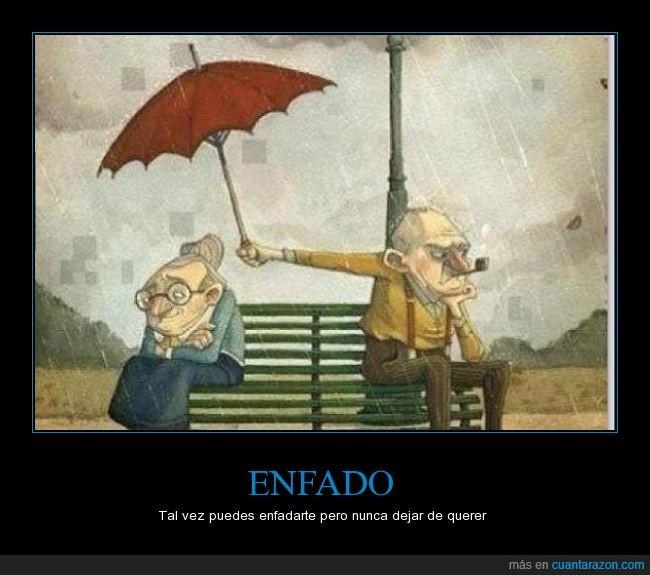 abuela anciano,abuelo,Amor,anciana,ayudar,enojo,mojada,mojado,mojar,tapar