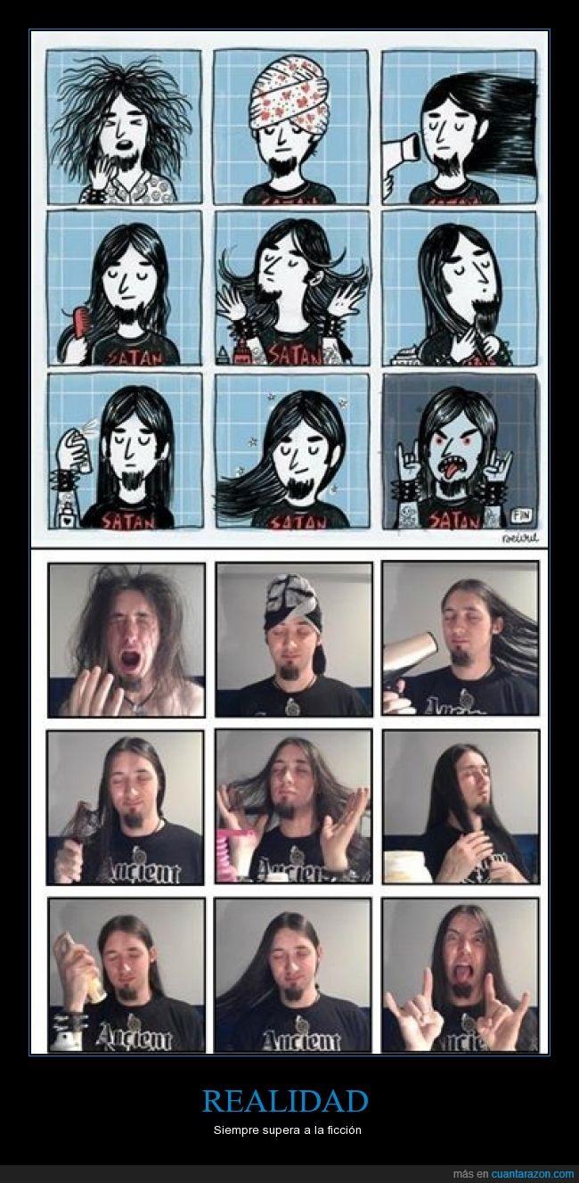broma,cabello hermoso,caricatura,comic,metalero,parodia,real,rock,secador