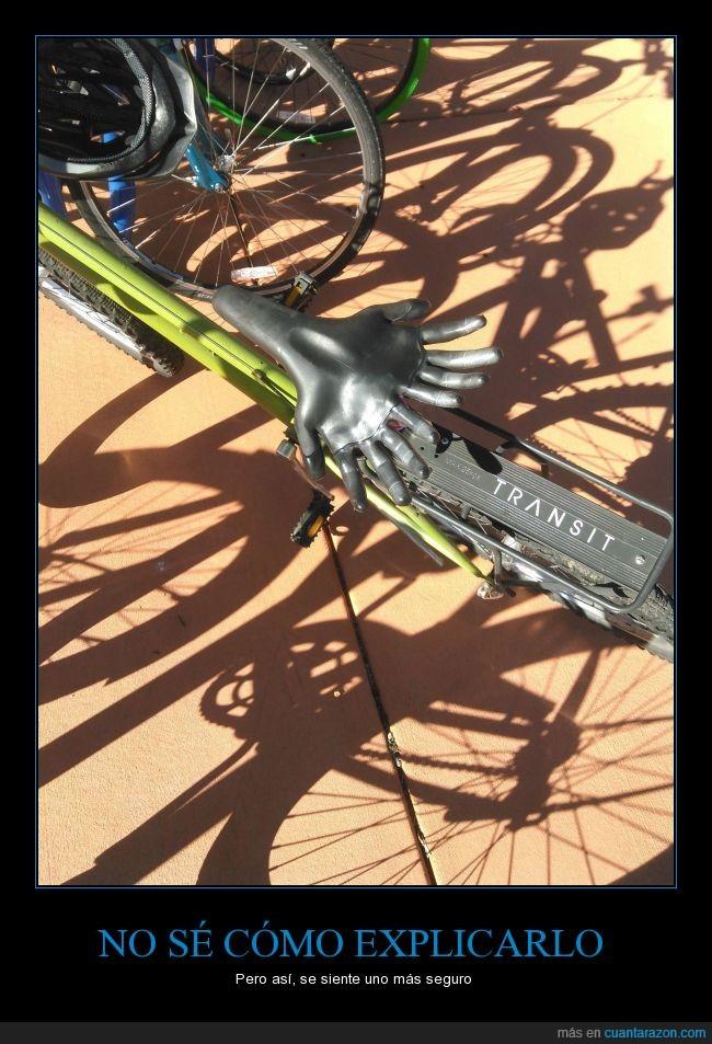 aguantar,asiento,bicicleta,extra sujeción,manos,sillin,transporte