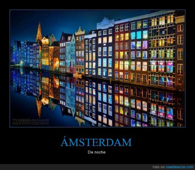 Ámsterdam,belleza,Holanda,noche,Paises Bajos,reflejo