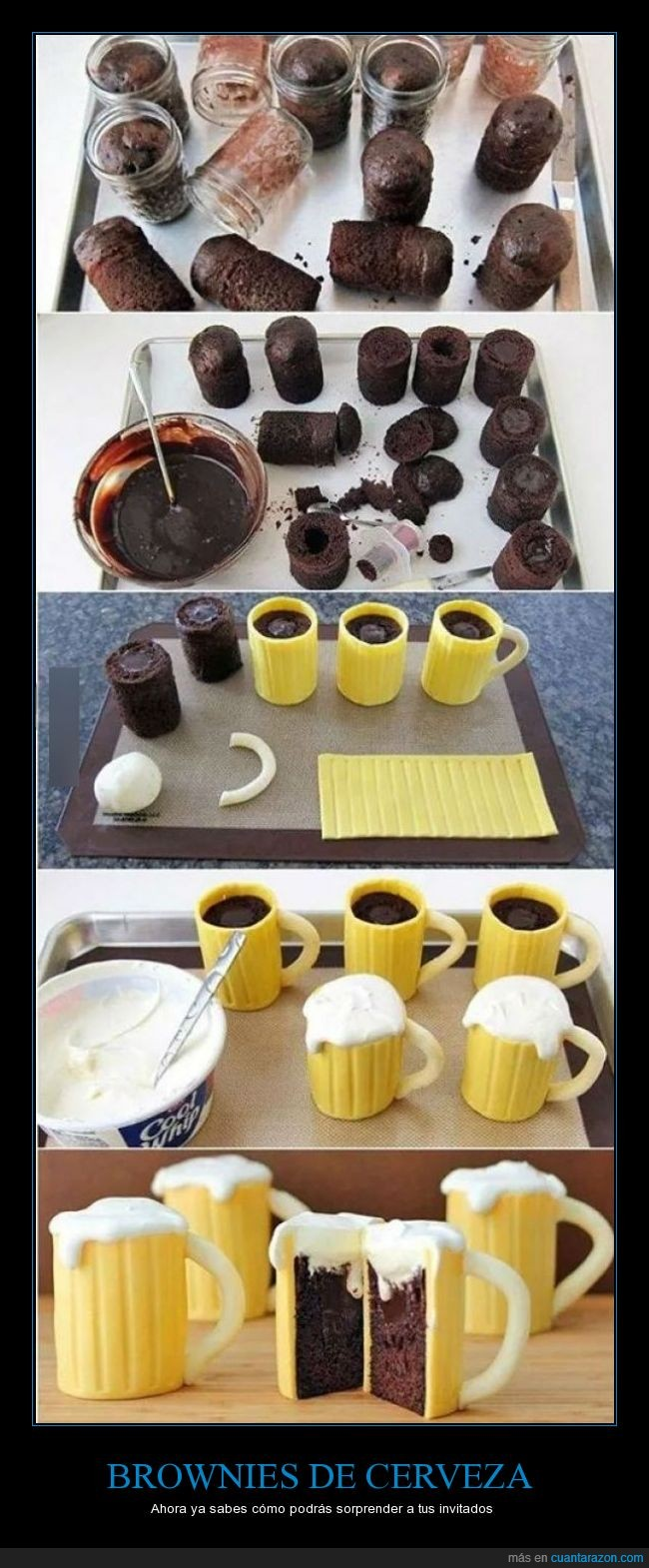brownie,cerveza,crema,cupcake,dulce,invitados,jarra,pasabocas,pastel de cerveza