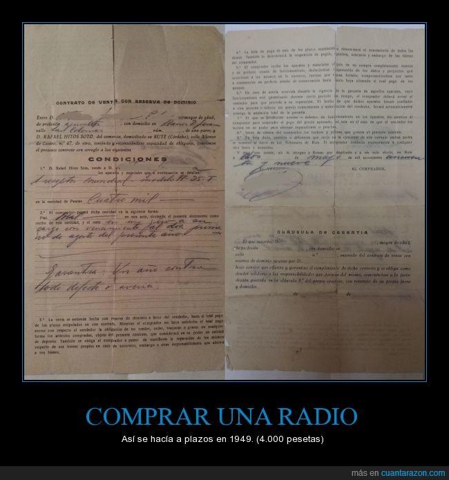 antiguo,contrato,curiosidad,dinero,pesetas,plazos,radio