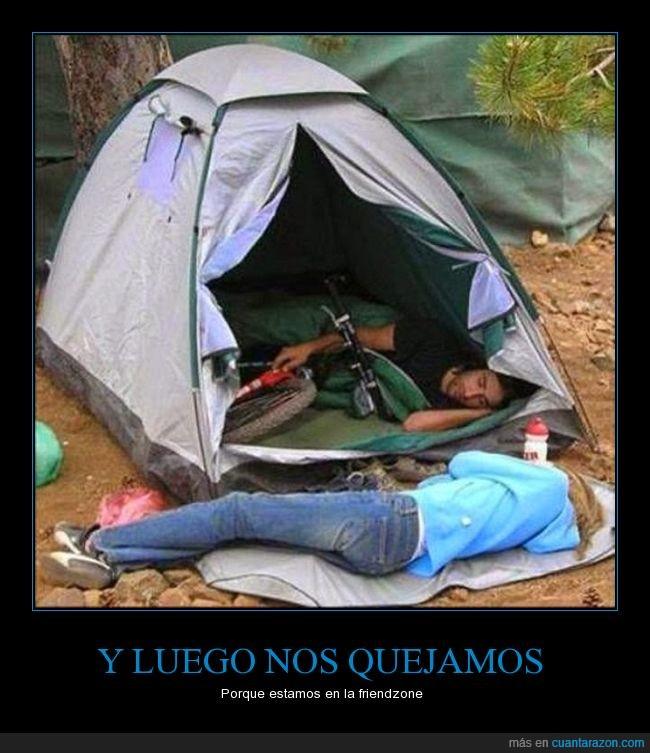 amigos,amor,bicicleta,carpa,dentro,dormir,friendzone,fuera,pareja,tienda de campaña,zona