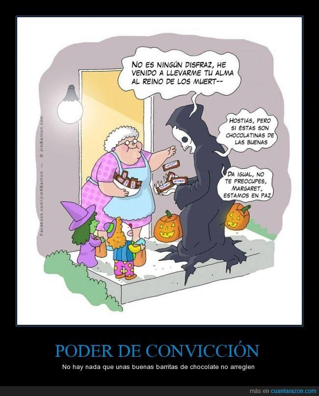 abuela,caramelos,chocolate,chocolatinas,dar,disfraz,halloween,margaret,muerte,señora